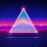 Retro paesaggio futuristico con il triangolo e brillante illustrazione vettoriale