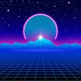 Retro paesaggio futuristico disegnato con l'arco al neon illustrazione di stock