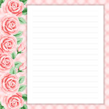 Retro page for notes. Lined page for notes design in retro style. Floral background. Template for scrapbooking, notebook, diary, sticker, greeting card. Place Stock Images