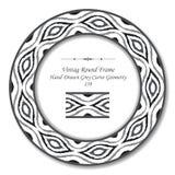 Retro pagina rotonda d'annata 239 Grey Curve Geometry disegnato a mano royalty illustrazione gratis