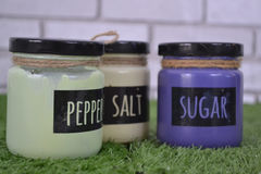 Retro Painted Glass Jars With Label. Kitchen use painted glass jar with label stock images