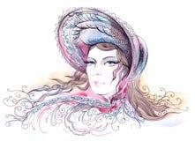 Retro. Painting of beautiful girl in bonnet stock illustration