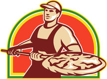 Retro paj för bagareHolding Peel With pizza Royaltyfri Fotografi