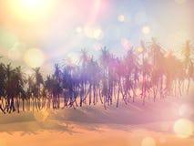 Retro palm tree landscape Stock Photo