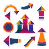 Retro paper arrow stickers with shadows stock illustration