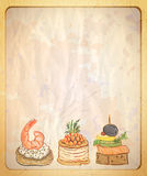 Retro paper backdrop with empty place for text and illustration of seafood canapes. Stock Photography