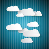 Retro Paper Clouds on Blue Pattern. Retro Paper Clouds on Blue Cardboard Sky Royalty Free Stock Images