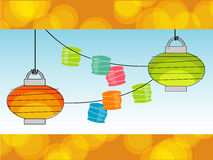 Retro Paper Lanterns (vector). Retro Summer Paper lanterns and Party Lights with a cool background. Objects grouped so you can use them independently from Royalty Free Stock Image