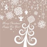 Retro paper xmas greeting card Stock Images