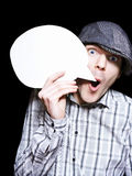 Retro Paperboy Making Speech Bubble Announcement. When Selling News On Dark Copyspace Background Royalty Free Stock Photo
