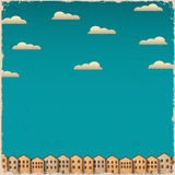 Retro- Papierstadt auf grunge Hintergrund Stockbild