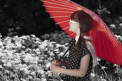 Retro Parasol Girl Royalty Free Stock Photos