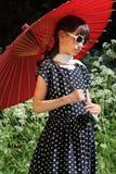 Retro Parasolowa dziewczyna obrazy royalty free
