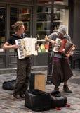 Retro Parijse Musici van straat stock afbeelding