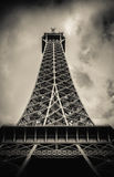 Retro Paris Eiffel Tower With Stormy Sky royalty free stock image