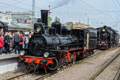 Retro parowych lokomotyw parada w Petersburg Obrazy Royalty Free
