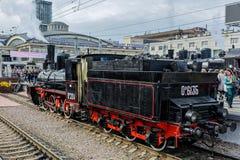 Retro parowych lokomotyw parada w Petersburg Fotografia Royalty Free