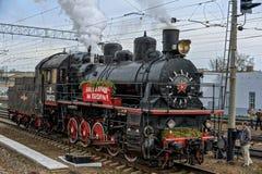 Retro parowych lokomotyw parada w Petersburg Obrazy Stock