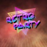 Retro- Partei-Neon-Plakat 1980 Retro- Hintergrund der Disco-80s Lizenzfreies Stockfoto