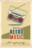 Retro partiaffischdesign Musikhändelse på nattklubben abstrakt blom- nvitationmall Grunge effekter gammalt band för kassett royaltyfri illustrationer