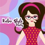 Retro partiinbjudan i rosa färger Royaltyfria Bilder
