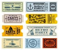 Retro partij, bioskoop, geplaatste uitnodigings vectorkaartjes Stock Foto