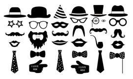 Retro partiuppsättning Symboler för monokel för band för mustascher för exponeringsglashattkanter också vektor för coreldrawillus Royaltyfri Foto