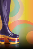 Retro party. This is 70s background in retro style with the 70s high heel shoe. Colours and shapes are from 70s Royalty Free Stock Photo