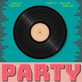 Retro party advertising flyer with old vinyl. Old-fashioned post. Er design. Vector vintage illustration.Retro background Stock Photography