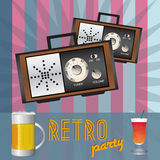 Retro party - back in time. Retro party - poster or invitation to old school party. There are two radios, beer, drink and the inscription on a striped background Royalty Free Stock Image