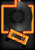 Retro Party Background. Audio Tape and Vinyl Record on Dark Grey Background - Vector royalty free illustration