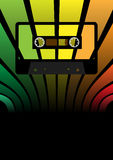 Retro Party Background. Audio cassette tape on multicolor background - vector Royalty Free Stock Photography