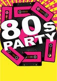 Retro Party Background. Vinyl Record, Audio Tapes and 80s Party Sign - vector Stock Photography