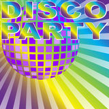 Retro Party Background. Disco Party Sign and Disco Ball on Multicolor Background - vector Stock Photos