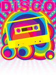 Retro Party Background. Audio Casette Tape and Disco Sign on Multicolor Background - vector vector illustration