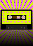 Retro Party Background. Audio Casette Tape on Strips and Stars Background - vector vector illustration