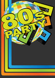 Retro Party Background. Retro Audio Cassette Tapes, Disco Ball and 80s Party Sign vector illustration