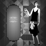 Retro party background with beautiful girl of Royalty Free Stock Photography