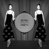 Retro party background with beautiful girl of Stock Image