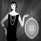 Retro party background with beautiful girl of. 1920s style Stock Photos