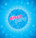 Retro party background with disco ball stock illustration