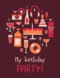Retro-party-set copy royalty free illustration