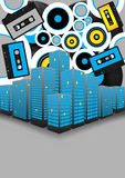 Retro Party in the City. Retro Party Background - Audio Tapes, Vinyl Records and Skyscrapers on Grey Background - Vector stock illustration