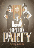 Retro party design with girls and man. Royalty Free Stock Photos