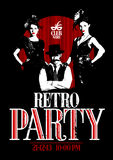 Retro party design with old-fashioned girls and man. Royalty Free Stock Photography