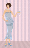 Retro party girl. Vector illustration for your Royalty Free Stock Photos