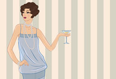 Retro party girl. Vector illustration for your Stock Images