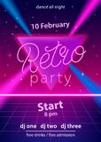 Retro party hand lettering design template. With neon effect on triangle and laser beams. Use for flyer, banner, poster, invitation. 80s vintage style. Vector Stock Photos