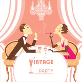 Retro party illustration with couple lovers Royalty Free Stock Image