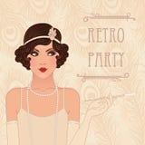 Retro party invitation. Design (1920-s stock illustration